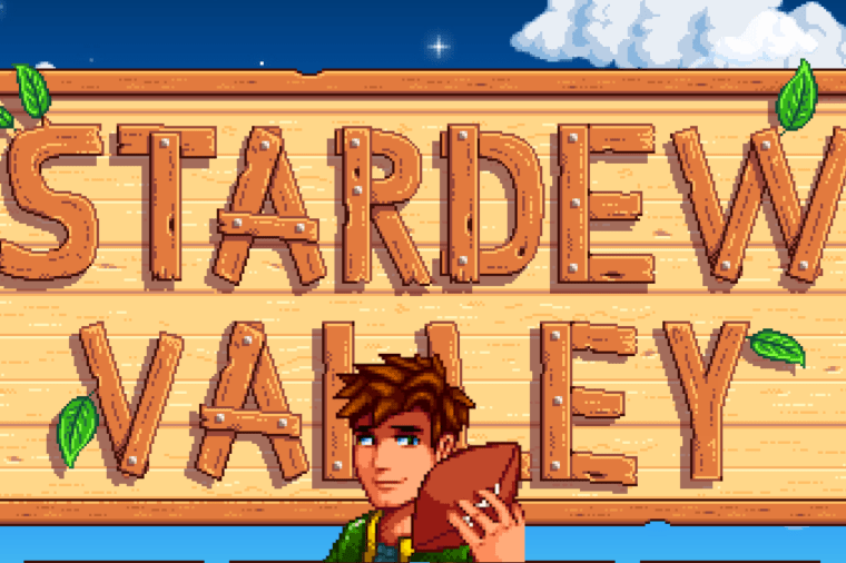 Alex in front of the Stardew Valley loading screen.