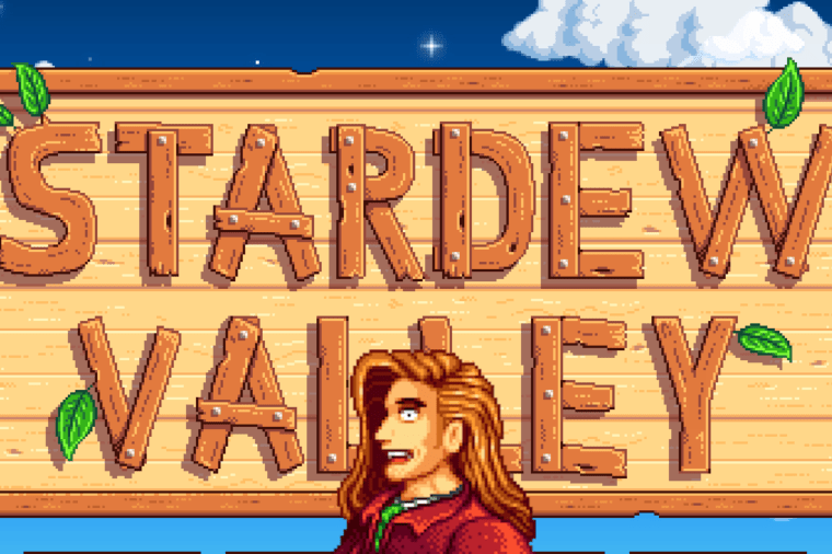Elliot in front of the Stardew Valley Loading Screen.