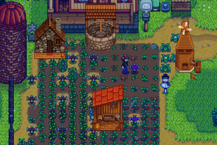 Stardew Valley farm with several misplaced buildings.