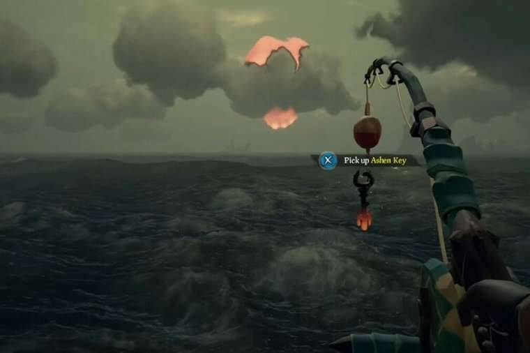An Ashen Key on a fishing line in Sea of Thieves.