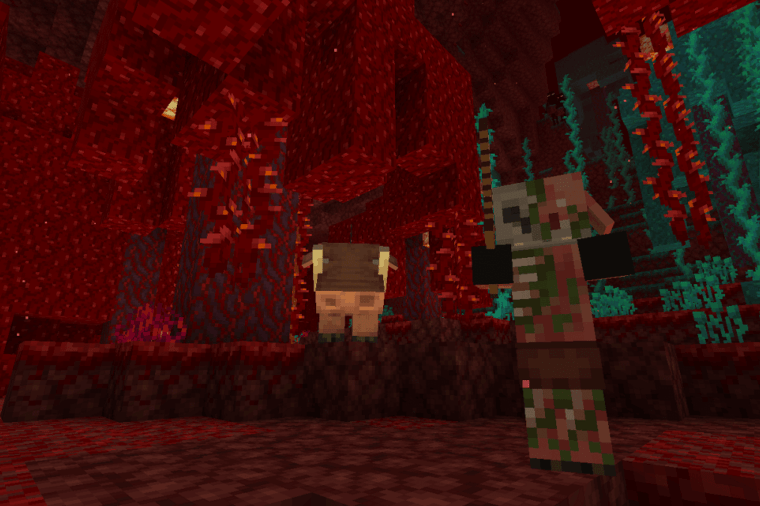 A Hoglin and a Zombie Pigman in Minecraft.