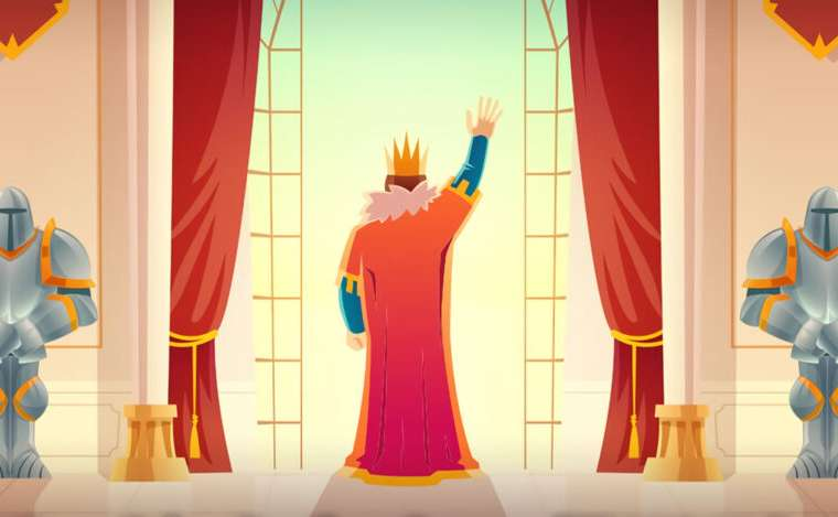 BitLife king waving to the crowd
