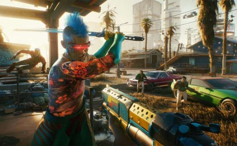A Cyberpunk coming at the main character with a sword, with others flanking you from the side