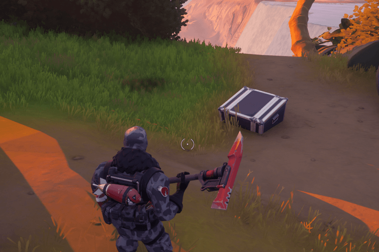 A picture in Fortnite showing a character near a crashed plane