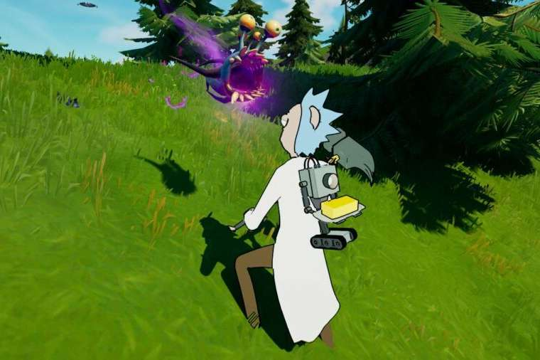 Rick looking at a parasite in Fortnite.
