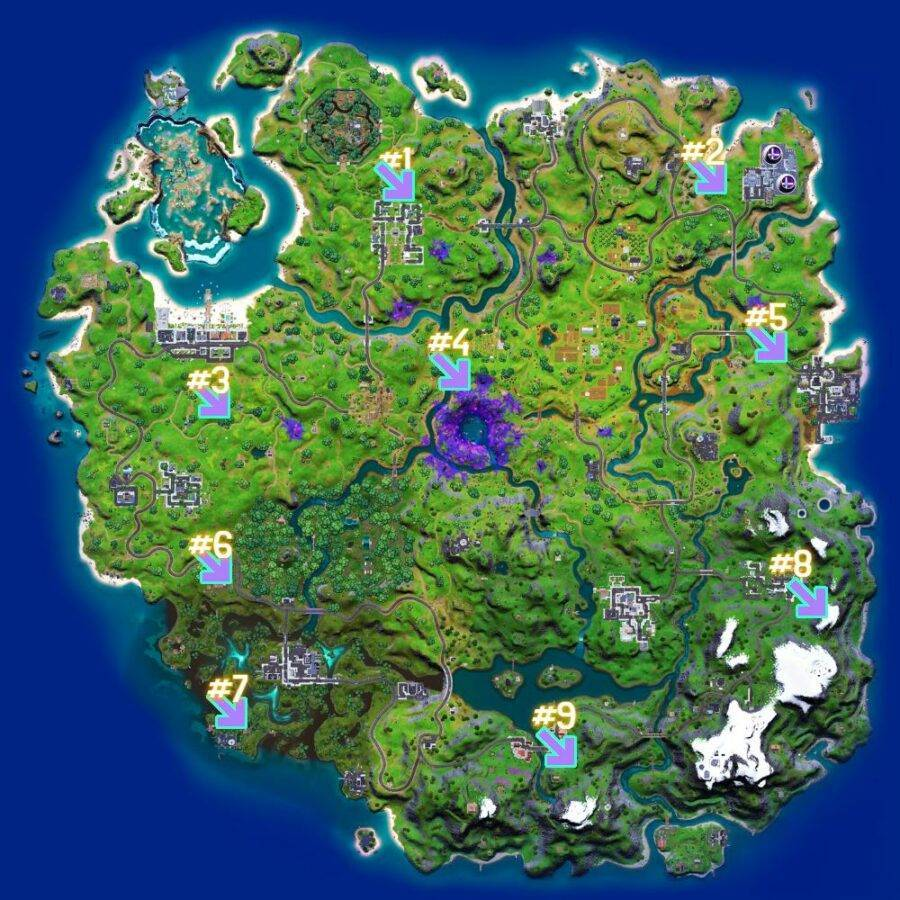 Fortnite Cosmic Chests locations.