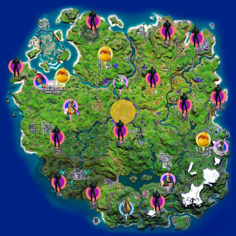 Cheat Sheet Map for Fortnite Chapter 2 Season 7 Week 1 Legendary Quests