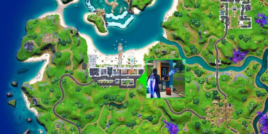 The Payphone location in Fortnite at Believer Beach.