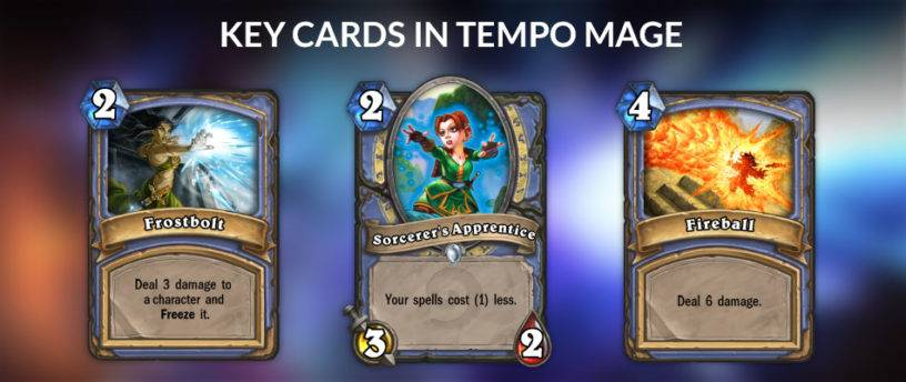 An image of the key cards for Tempo Mage in Hearthstone.