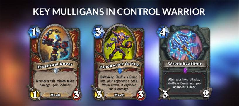 An image displaying the key mulligans in Control Warrior.