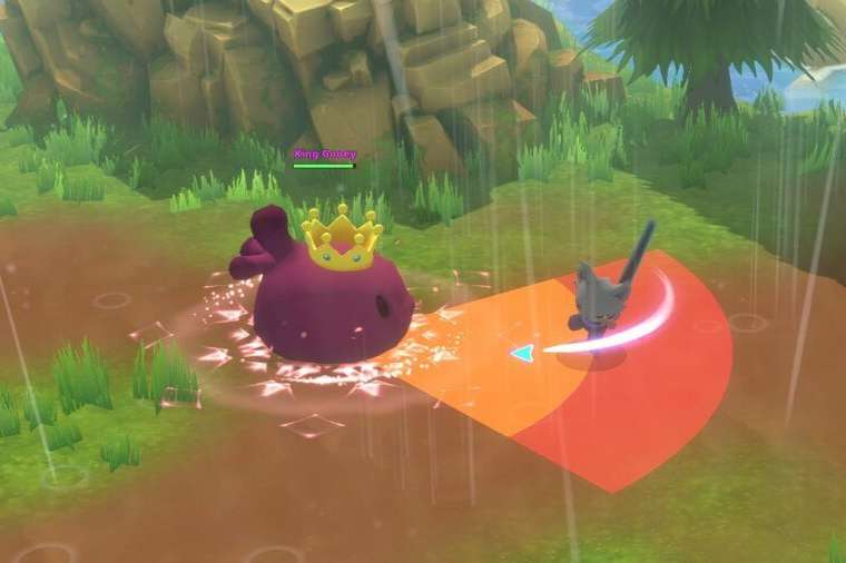 Fighting King Gooey with a Longsword in Kitaria Fables