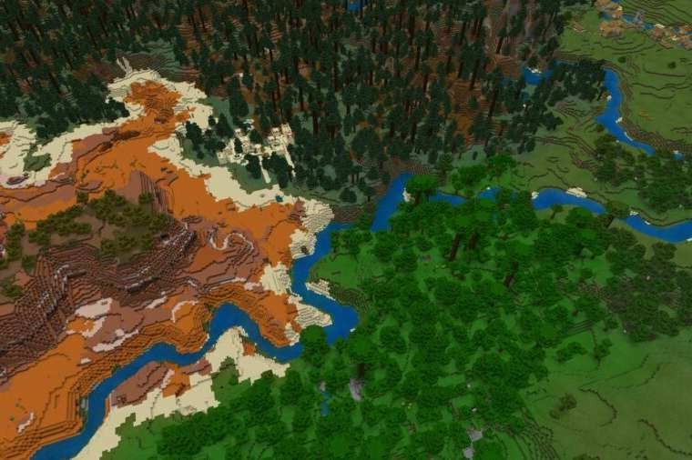 A Featured view of many rare biomes touching in Minecraft.