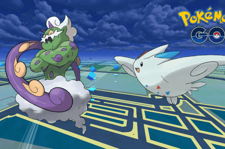 A Tornadus and Togekiss on a Pokemon Go Background.