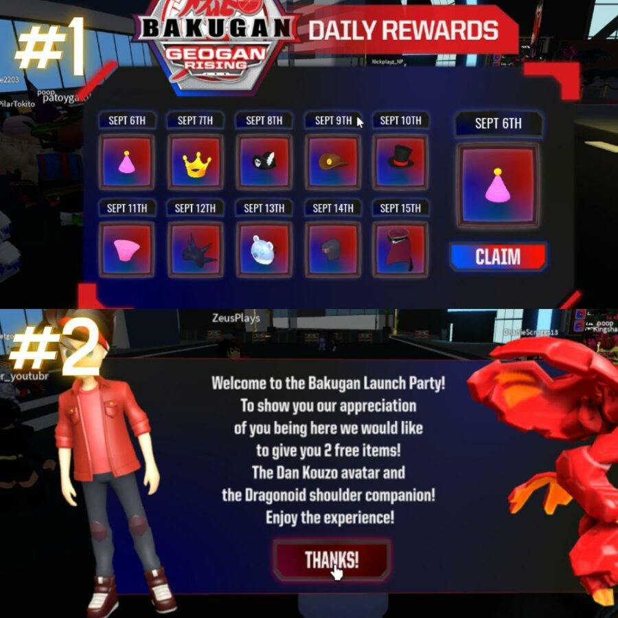 Free items in Bakugan Launch Party
