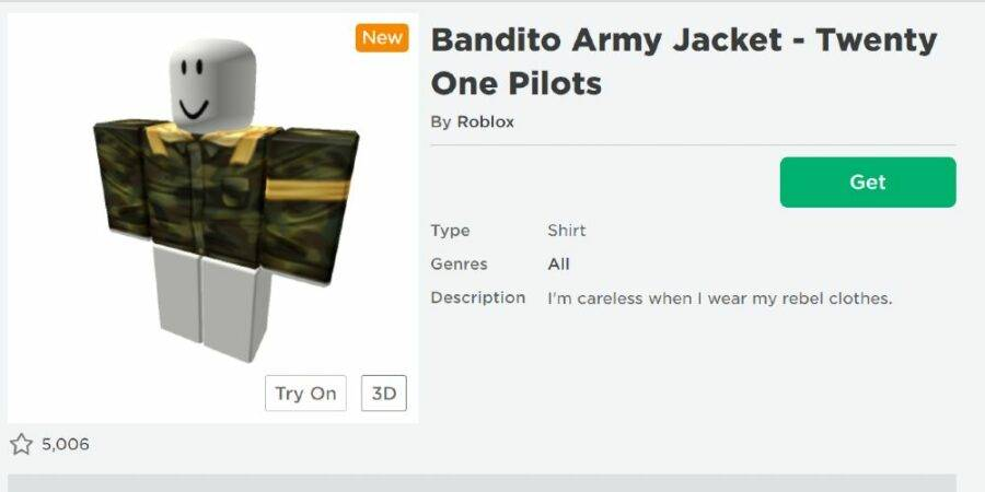 Claiming the bandito army jacket on the Roblox site.