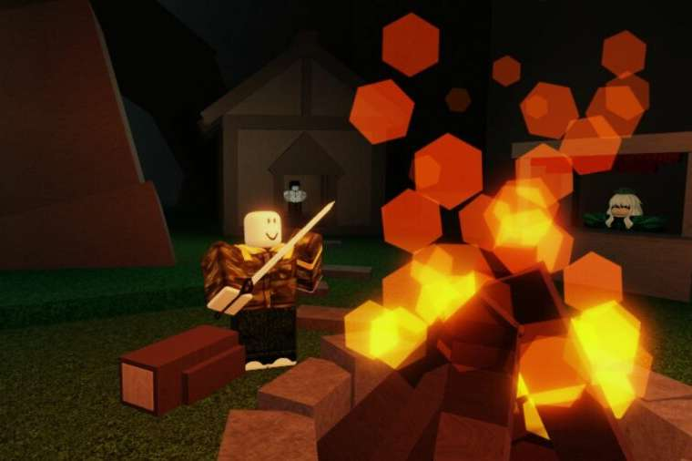 A player by a campfire in Roblox Verdant Moon