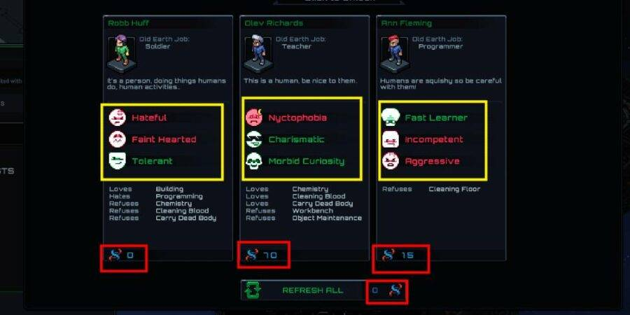 Selecting a Colonist in Starmancer