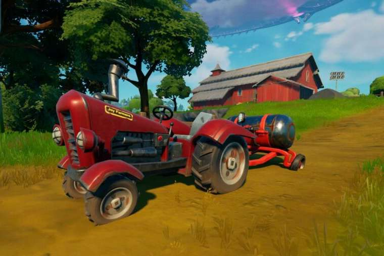 A tractor in Fortnite