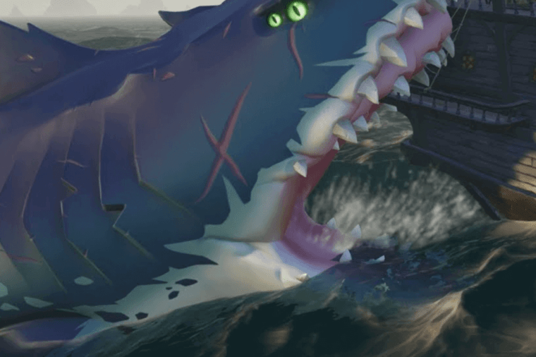 A Megalodon biting a ship in Sea of Thieves.