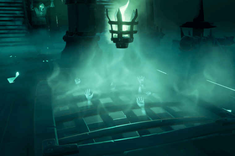 The Hands in on the Ferry of the Damned in Sea of Thieves.