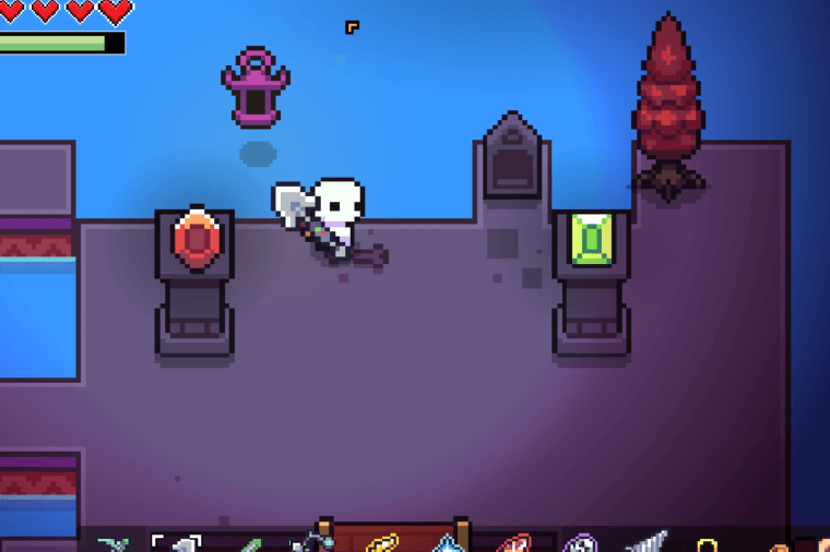 The colored pedestal puzzle in Forager.