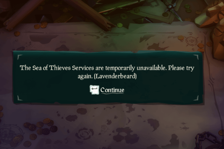 Services unavailable for Sea of Thieves.