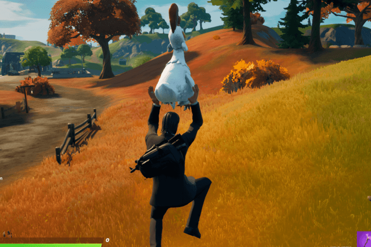 John Wick flying with a Chicken in Fortnite.