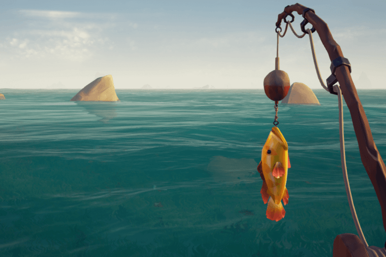 A fish hanging from a fishing line in Sea of Thieves.