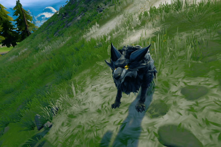 A proud wolf in Fortnite.
