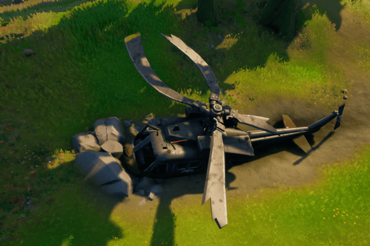 The downed black helicopter.