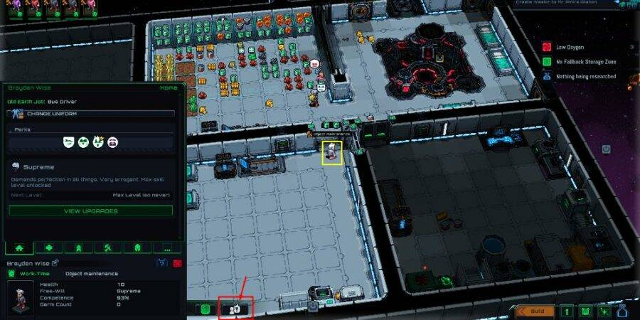 Selecting Command Override in Starmancer