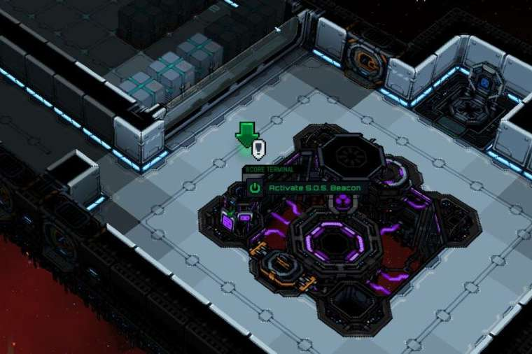 ACtivating the SOS Beacon in Starmancer.